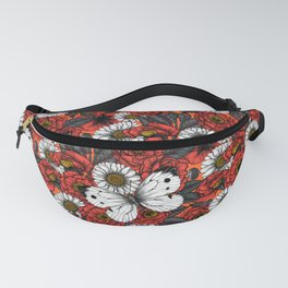 White butterfly and roses Fanny Pack