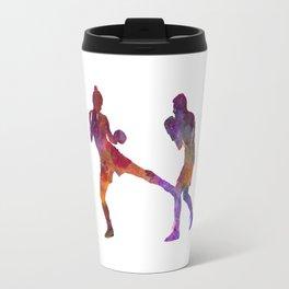 Woman boxer boxing man kickboxing silhouette isolated 02 Travel Mug