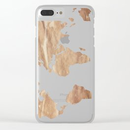 Vintage Paper World Map Clear iPhone Case