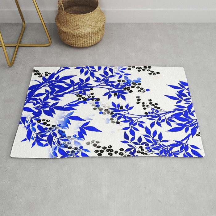 Blue And White Leaf Toile Rug By
