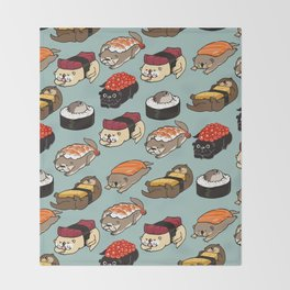 Sushi Otter Throw Blanket