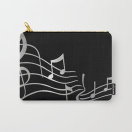 Silver Metallic Music Symbols Carry-All Pouch