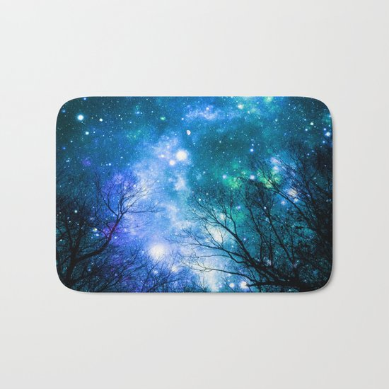 Black Trees Blue Turquoise Teal Space Bath Mat