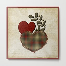 Red & Green Plaid Heart Love Letter Metal Print