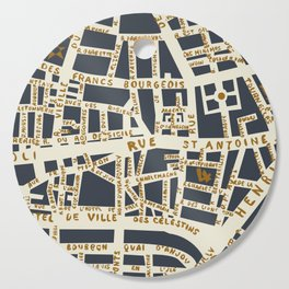 PARIS MAP GREY GOLD Cutting Board