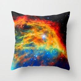 Rainbow Medusa Nebula Throw Pillow