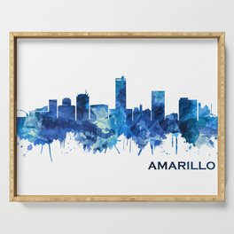 Amarillo Texas Skyline Blue Serving Tray