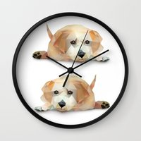 labrador Wall Clocks featuring Labrador by Diana D'Achille