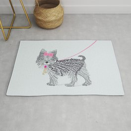 Typographic Yorkshire Terrier - Pink   #YorkshireTerrier #buyart Rug