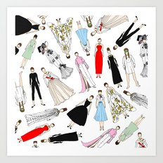 Audrey Hepburn Fashion (Scattered) Art Print