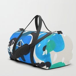 Mid Century Modern Abstract Colorful Art Patterns Teal Blue Turquoise Bubbles Raindrops Geometric Duffle Bag