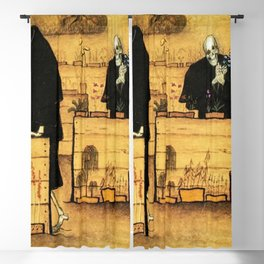 Garden of Life and Death flower and skeleton magical realism portrait painting by Hugo Simberg Blackout Curtain