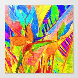 Bird of paradise plant with flower painting Canvas Print