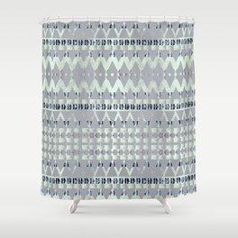 Blue Pattern Triangle Art Shower Curtain