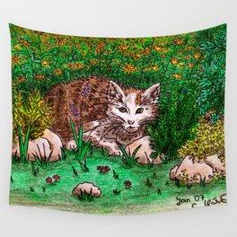 Cat in Flower Garden Wall Tapestry