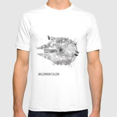 Star Wars Vehicle Millennium Falcon LARGE White Mens Fitted Tee