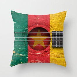 Old Vintage Acoustic Guitar with Cameroon Flag Throw Pillow