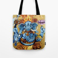 ganesh Tote Bags featuring Ganesh by RICHMOND ART STUDIO