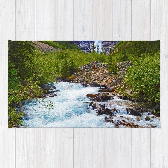 Geraldine Waterfall located in Jasper National Park, Canada Rug