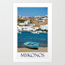 Blue Boat on Mykonos Island Greece Art Print