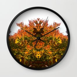 Sunny Autumn Leaves Fall Vibes Wall Clock