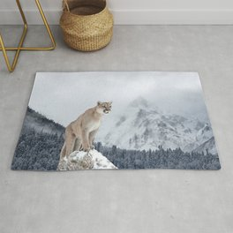 Portrait of a cougar. Rug