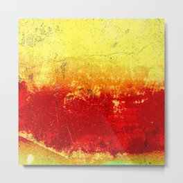 Vibrant Yellow Sunset Glow Textured Abstract Metal Print