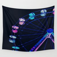 ferris wheel Wall Tapestries featuring Ferris Wheel Pink Blue Aqua by Whimsy Romance & Fun