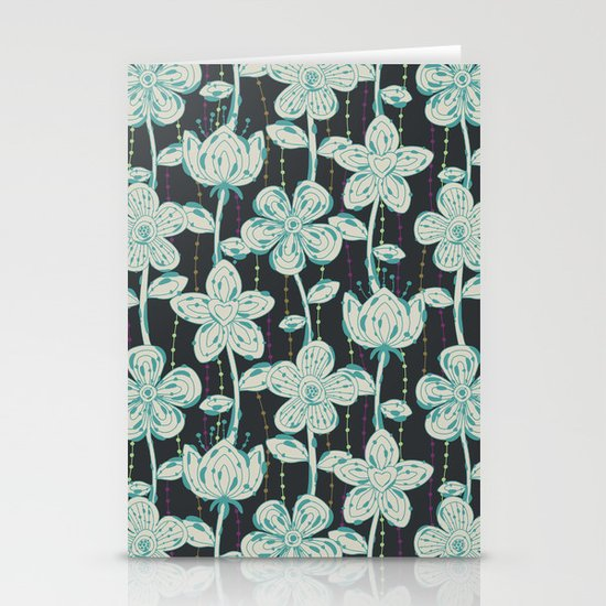 My grey spotted flowers. Stationery Cards