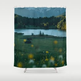 Sunrise at a mountain lake with forest - Landscape Photography Shower Curtain