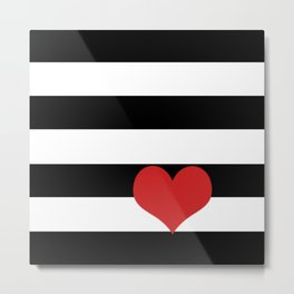 Black and White Stripes w/Red Heart Metal Print