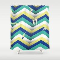 swim Shower Curtains featuring Swim by Salomé Milet
