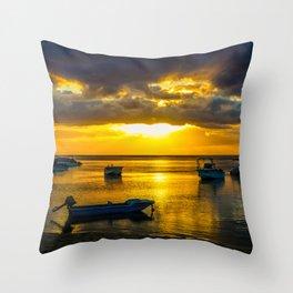 Golden Sunset in Mauritius Throw Pillow