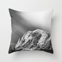Misty clouds over the mountains in black and white Throw Pillow