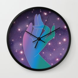 Blue Rainbow Holly Hand in Universe Wall Clock