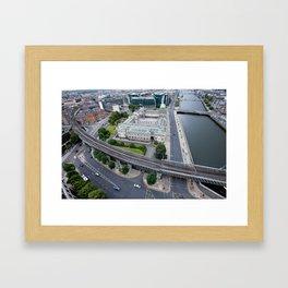 Custom House Dublin aerial view Framed Art Print