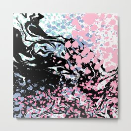 Abstract painting modern minimal ocean space galaxy space art minimalist pink and mint Metal Print