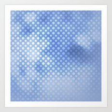 White polka dots on serentiy blue with bokeh texture Art Print