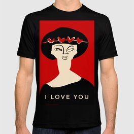 """Valentine's girl- with caption """"I love you"""" T-shirt"""