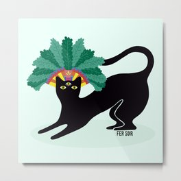 Black cat with third eye Metal Print