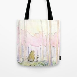 Unlikely Friendship Large Print (Bunny and Bear in the Woods) Tote Bag
