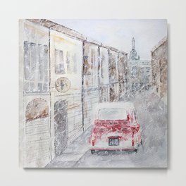Snowfall and little red car Metal Print
