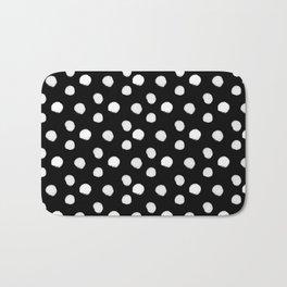 Brushy Dots pattern - Black Bath Mat