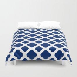 Royal Blue Quatrefoil Duvet Cover
