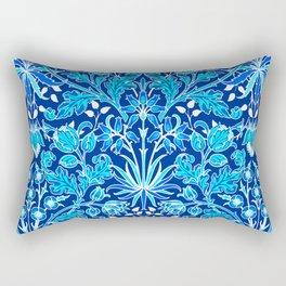 William Morris Hyacinth Print, Navy and Cobalt Blue Rectangular Pillow