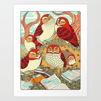 Burrowing Owl Family Art Print