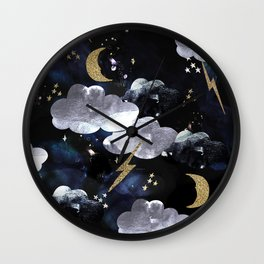 Cosmic lightning Wall Clock