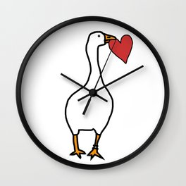 White Goose Steals Heart Wall Clock