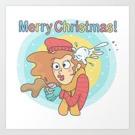 Merry Christmas Snowball Art Print