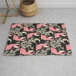Jackalope - black and pink Rug